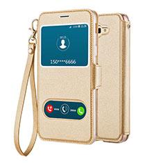 Coque Portefeuille Livre Cuir L02 pour Samsung Galaxy J5 Prime G570F Or