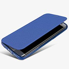 Coque Portefeuille Livre Cuir L02 pour Samsung Galaxy S7 Edge G935F Bleu
