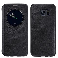 Coque Portefeuille Livre Cuir L02 pour Samsung Galaxy S7 Edge G935F Noir
