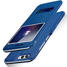 Coque Portefeuille Livre Cuir L03 pour Huawei Honor V10 Bleu