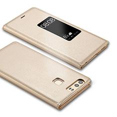 Coque Portefeuille Livre Cuir L03 pour Huawei P9 Plus Or