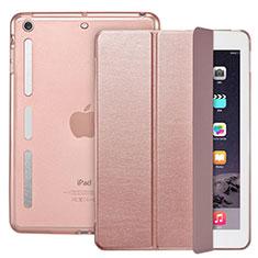 Coque Portefeuille Livre Cuir L05 pour Apple iPad Mini 3 Or Rose