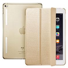 Coque Portefeuille Livre Cuir L06 pour Apple iPad Mini 4 Or