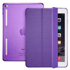 Coque Portefeuille Livre Cuir L06 pour Apple iPad Mini 4 Violet