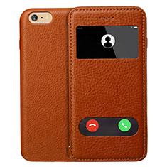 Coque Portefeuille Livre Cuir L06 pour Apple iPhone 6 Marron