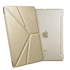 Coque Portefeuille Livre Cuir L08 pour Apple New iPad 9.7 (2017) Or