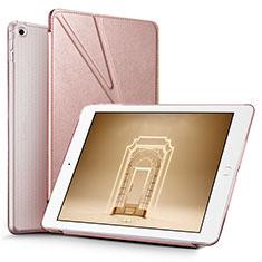 Coque Portefeuille Livre Cuir L08 pour Apple New iPad 9.7 (2017) Or Rose