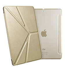 Coque Portefeuille Livre Cuir L08 pour Apple New iPad 9.7 (2018) Or