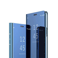 Coque Portefeuille Livre Cuir Miroir Housse Etui Clapet L01 pour Huawei P40 Lite E Bleu