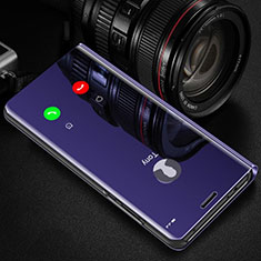 Coque Portefeuille Livre Cuir Miroir Housse Etui Clapet L01 pour Huawei Y7a Violet