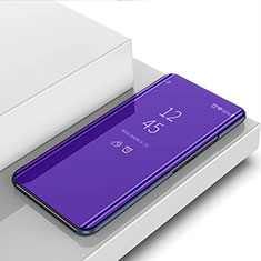 Coque Portefeuille Livre Cuir Miroir Housse Etui Clapet L01 pour Motorola Moto G8 Plus Violet