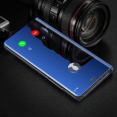 Coque Portefeuille Livre Cuir Miroir Housse Etui Clapet L01 pour Xiaomi Redmi Note 9 Pro Bleu
