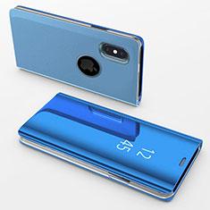 Coque Portefeuille Livre Cuir Miroir Housse Etui Clapet L02 pour Apple iPhone Xs Bleu