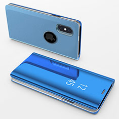 Coque Portefeuille Livre Cuir Miroir Housse Etui Clapet L02 pour Apple iPhone Xs Max Bleu