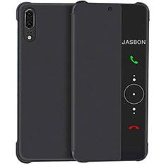Coque Portefeuille Livre Cuir Miroir Housse Etui Clapet L02 pour Huawei P20 Noir