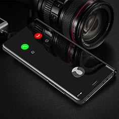 Coque Portefeuille Livre Cuir Miroir Housse Etui Clapet L02 pour Huawei P40 Noir