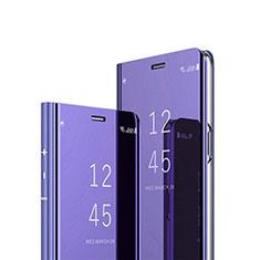 Coque Portefeuille Livre Cuir Miroir Housse Etui Clapet L02 pour Huawei Y7a Violet
