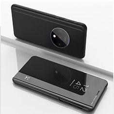 Coque Portefeuille Livre Cuir Miroir Housse Etui Clapet L02 pour OnePlus 7T Noir
