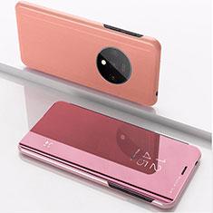 Coque Portefeuille Livre Cuir Miroir Housse Etui Clapet L02 pour OnePlus 7T Or Rose