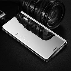Coque Portefeuille Livre Cuir Miroir Housse Etui Clapet L02 pour OnePlus 8 Argent