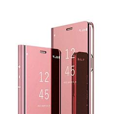 Coque Portefeuille Livre Cuir Miroir Housse Etui Clapet L02 pour OnePlus Nord Or Rose