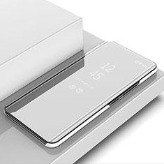 Coque Portefeuille Livre Cuir Miroir Housse Etui Clapet L02 pour Samsung Galaxy S10 Argent
