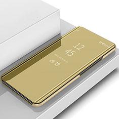 Coque Portefeuille Livre Cuir Miroir Housse Etui Clapet L02 pour Samsung Galaxy S10 Or
