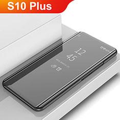 Coque Portefeuille Livre Cuir Miroir Housse Etui Clapet L02 pour Samsung Galaxy S10 Plus Noir