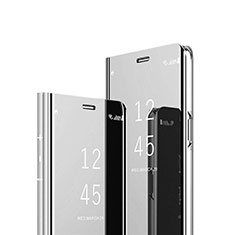 Coque Portefeuille Livre Cuir Miroir Housse Etui Clapet L02 pour Samsung Galaxy S21 Ultra 5G Argent