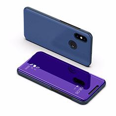 Coque Portefeuille Livre Cuir Miroir Housse Etui Clapet L02 pour Xiaomi Mi Max 3 Bleu