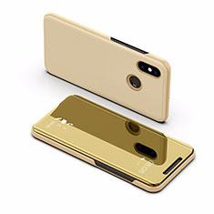 Coque Portefeuille Livre Cuir Miroir Housse Etui Clapet L02 pour Xiaomi Mi Max 3 Or