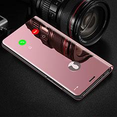 Coque Portefeuille Livre Cuir Miroir Housse Etui Clapet L02 pour Xiaomi Mi Note 10 Lite Rose