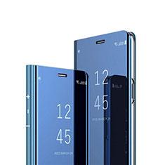 Coque Portefeuille Livre Cuir Miroir Housse Etui Clapet L03 pour Samsung Galaxy M21 Bleu