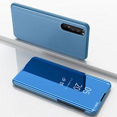 Coque Portefeuille Livre Cuir Miroir Housse Etui Clapet L03 pour Sony Xperia 1 II Bleu