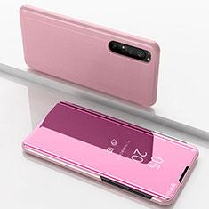 Coque Portefeuille Livre Cuir Miroir Housse Etui Clapet L03 pour Sony Xperia 1 II Or Rose