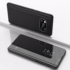 Coque Portefeuille Livre Cuir Miroir Housse Etui Clapet L03 pour Xiaomi Poco X3 NFC Noir