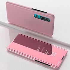 Coque Portefeuille Livre Cuir Miroir Housse Etui Clapet L04 pour Xiaomi Mi 10 Or Rose
