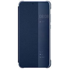 Coque Portefeuille Livre Cuir Miroir Housse Etui Clapet L05 pour Huawei P20 Pro Bleu