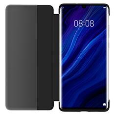 Coque Portefeuille Livre Cuir Miroir Housse Etui Clapet L05 pour Huawei P30 Noir