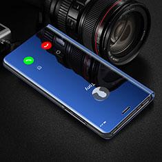 Coque Portefeuille Livre Cuir Miroir Housse Etui Clapet M01 pour Huawei Honor 20 Pro Bleu