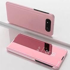Coque Portefeuille Livre Cuir Miroir Housse Etui Clapet M01 pour Samsung Galaxy A80 Or Rose