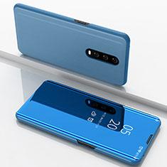 Coque Portefeuille Livre Cuir Miroir Housse Etui Clapet M02 pour Oppo R17 Pro Bleu
