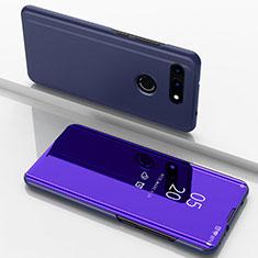Coque Portefeuille Livre Cuir Miroir Housse Etui Clapet M03 pour Huawei Honor View 20 Bleu