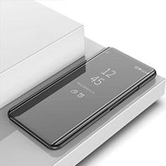 Coque Portefeuille Livre Cuir Miroir Housse Etui Clapet pour Apple iPhone 12 Pro Noir