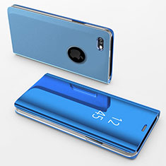 Coque Portefeuille Livre Cuir Miroir Housse Etui Clapet pour Apple iPhone 6 Plus Bleu