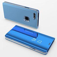 Coque Portefeuille Livre Cuir Miroir Housse Etui Clapet pour Apple iPhone 8 Plus Bleu