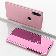Coque Portefeuille Livre Cuir Miroir Housse Etui Clapet pour Huawei Enjoy 10 Plus Or Rose