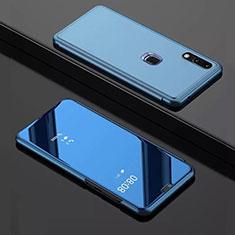 Coque Portefeuille Livre Cuir Miroir Housse Etui Clapet pour Huawei Enjoy 9 Bleu