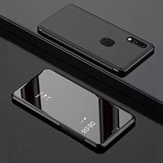 Coque Portefeuille Livre Cuir Miroir Housse Etui Clapet pour Huawei Enjoy 9 Noir