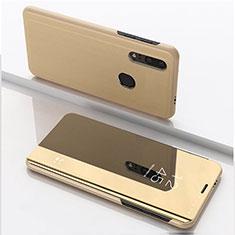 Coque Portefeuille Livre Cuir Miroir Housse Etui Clapet pour Huawei Enjoy 9s Or